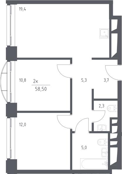 3Е-к.кв, 58.5 м², 11 этаж
