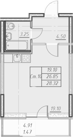 Студия, 31.75 м²
