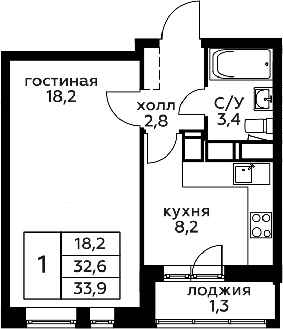 1-к.кв, 33.9 м², 9 этаж