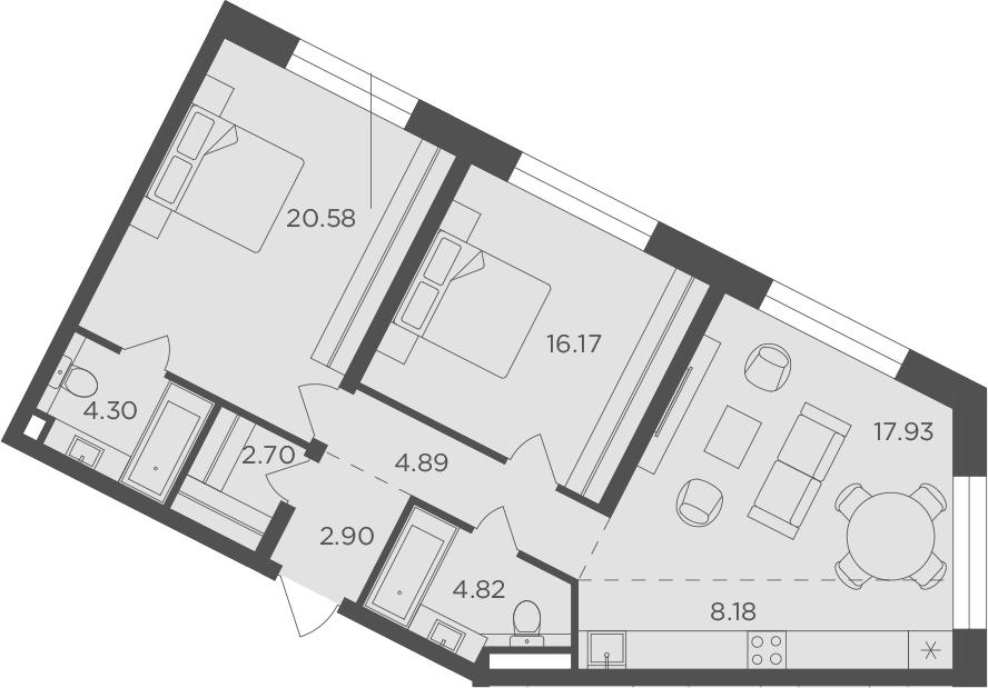 3Е-к.кв, 82.47 м², 8 этаж