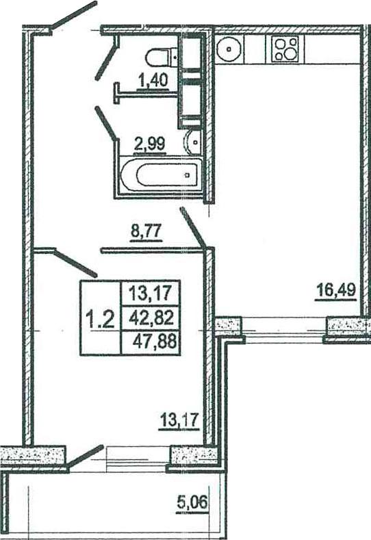 2-к.кв (евро), 47.88 м²