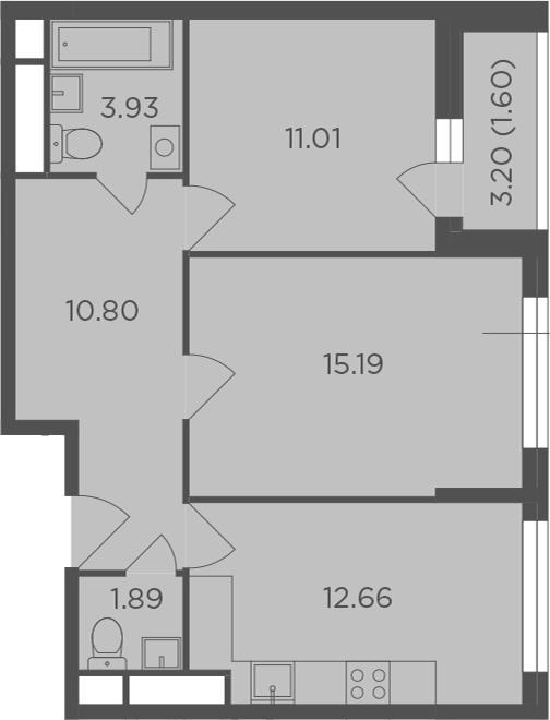 2-к.кв, 57.08 м², 3 этаж