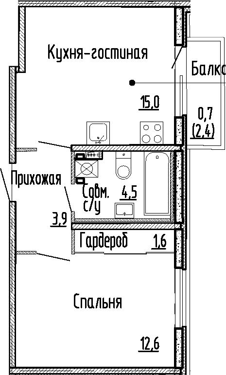 2Е-к.кв, 37.6 м², 1 этаж