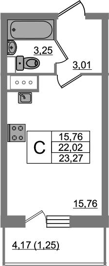 Студия, 23.27 м²