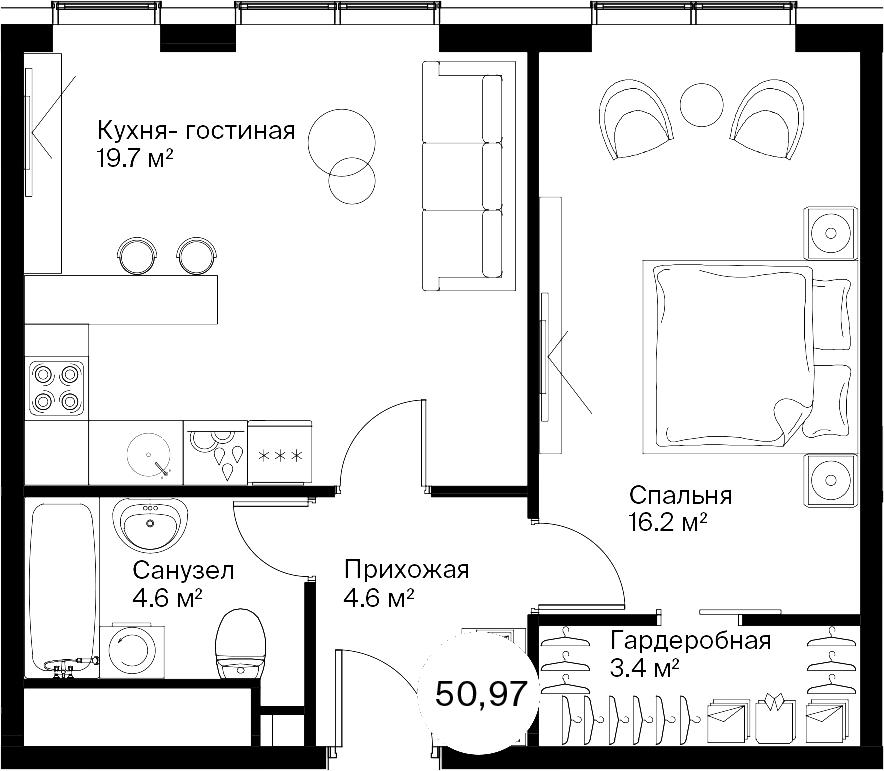 2Е-к.кв, 50.45 м²