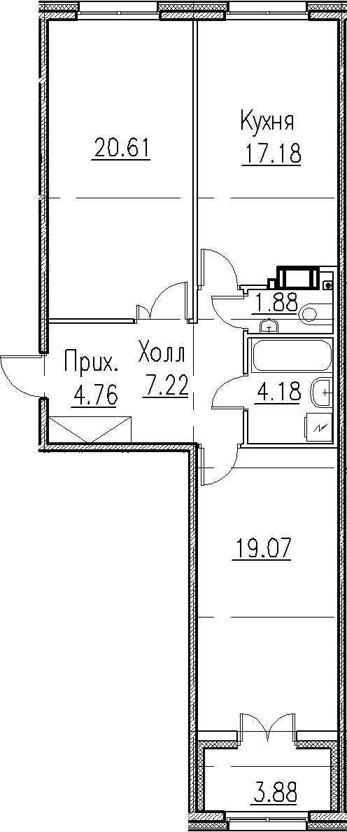 2-к.кв, 78.75 м²