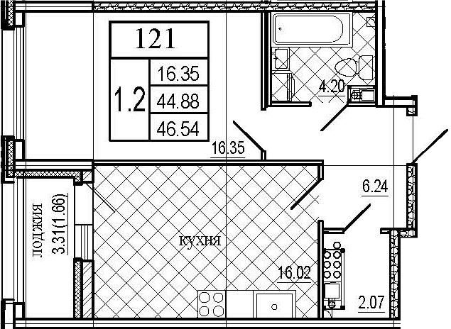2Е-комнатная, 46.54 м²– 2