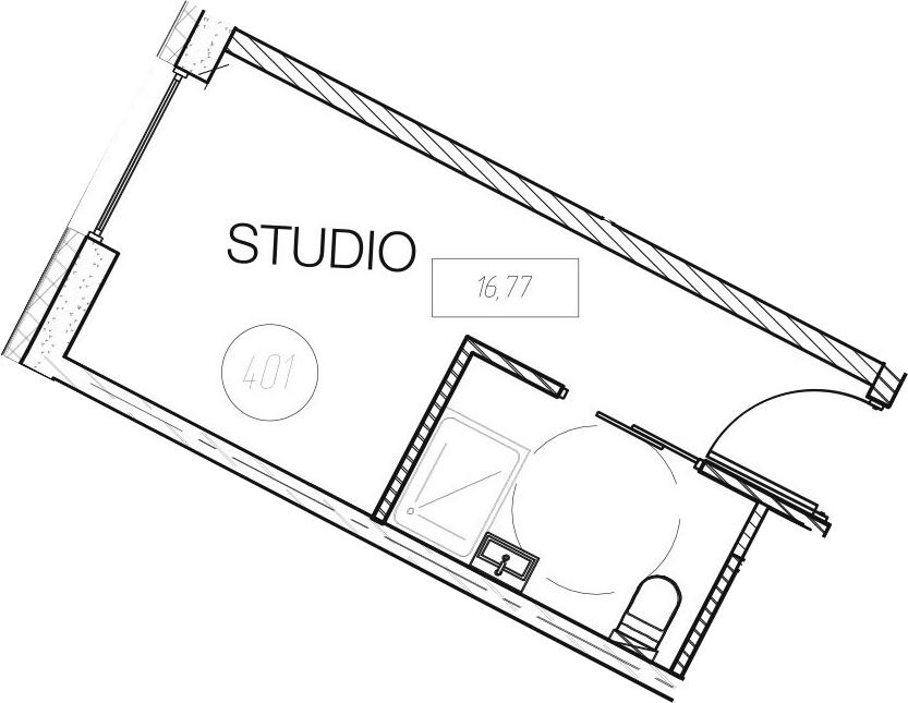 Студия, 16.77 м²