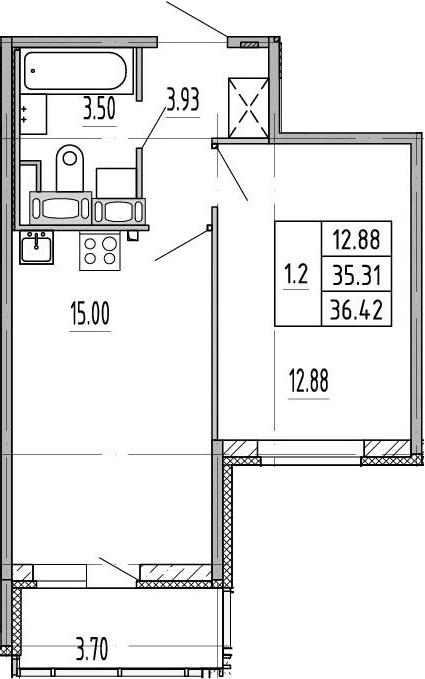 2-к.кв (евро), 39.01 м²