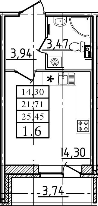Студия, 21.71 м²