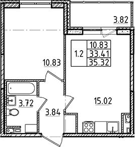 2Е-комнатная, 33.41 м²– 2