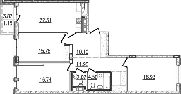 4-к.кв (евро), 106.16 м²
