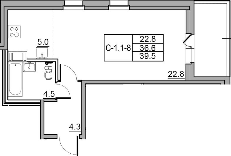 Студия, 39.5 м²– 2