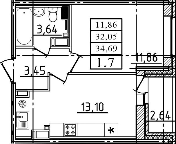2-к.кв (евро), 34.69 м²