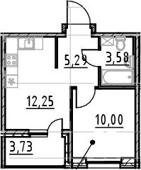 1-к.кв, 31.12 м², 12 этаж