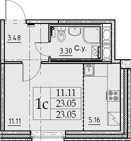 Студия, 23.05 м²– 2