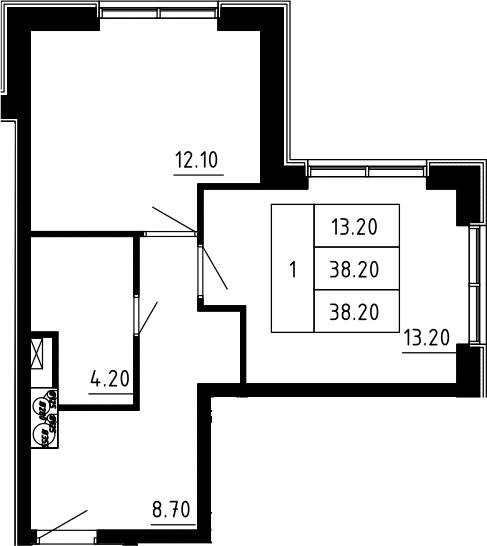 1-к.кв, 38.2 м², 12 этаж