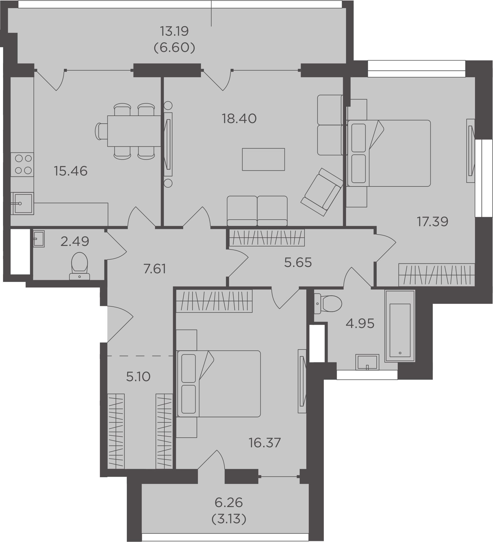 3-к.кв, 103.15 м², 5 этаж
