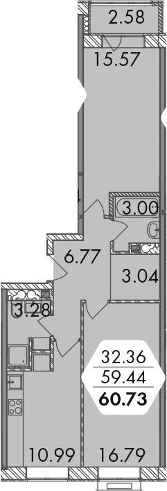 2-к.кв, 60.73 м²