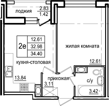 2-к.кв (евро), 35.82 м²