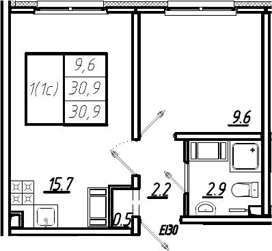 2Е-к.кв, 30.9 м², 23 этаж