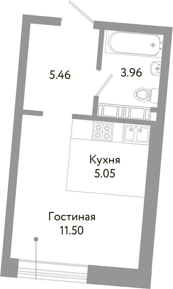 Студия, 25.97 м², 10 этаж