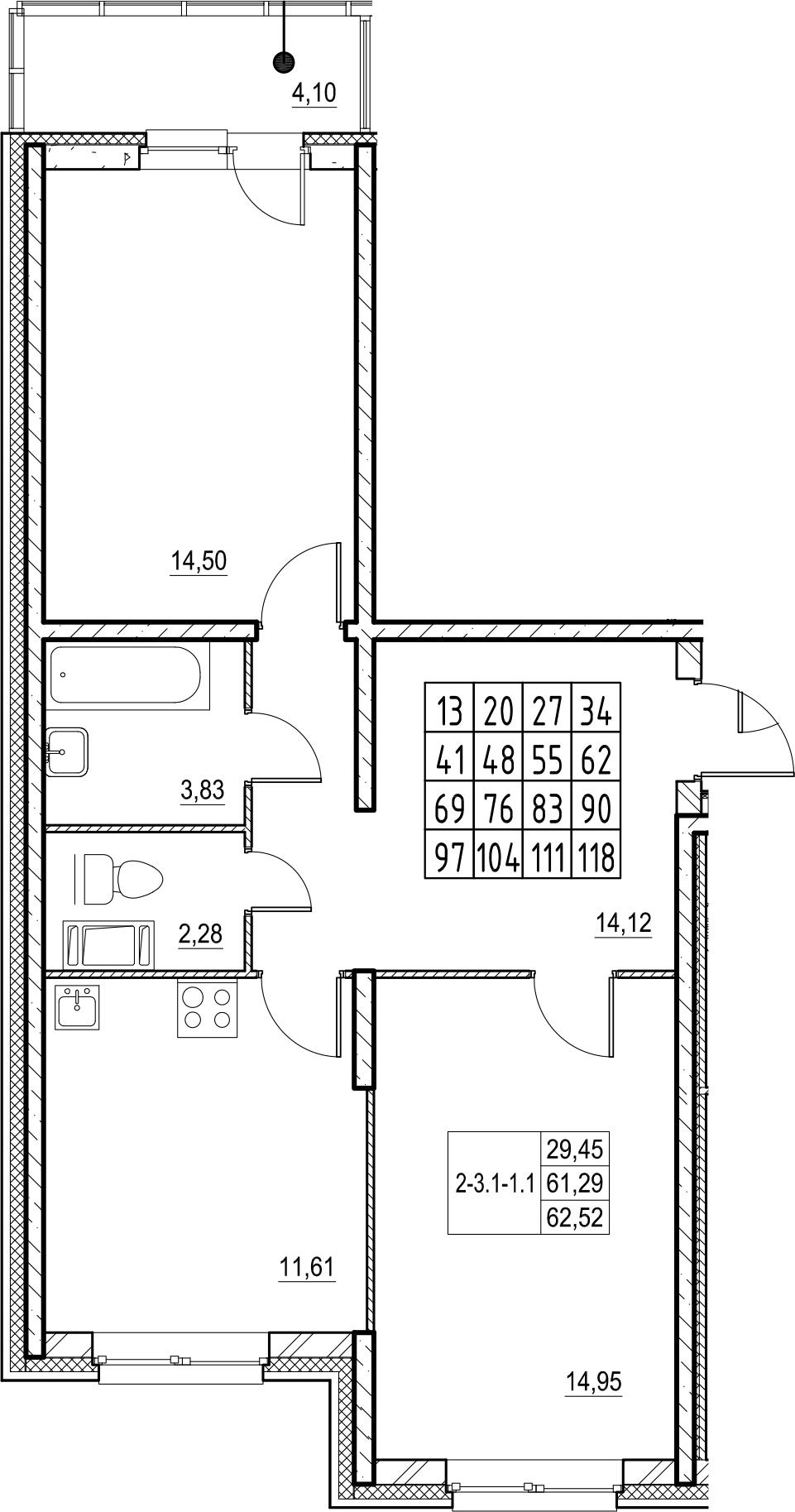 2-к.кв, 67.83 м²