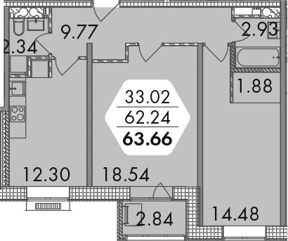 2-комнатная, 63.66 м²– 2
