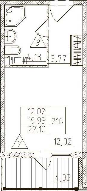 Студия, 24.26 м²