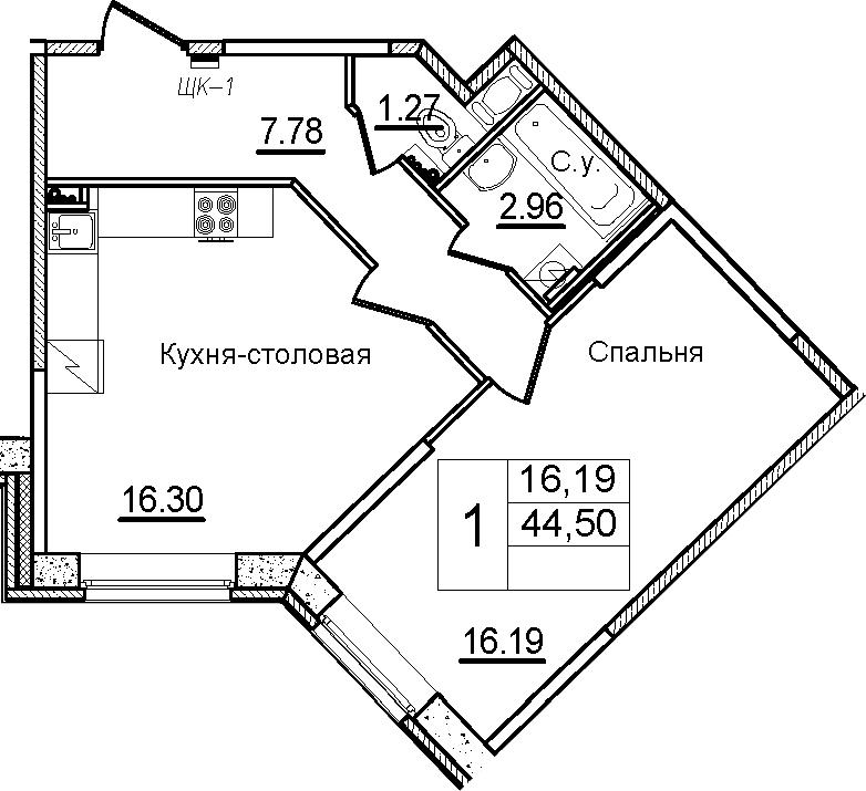 2Е-к.кв, 44.5 м²