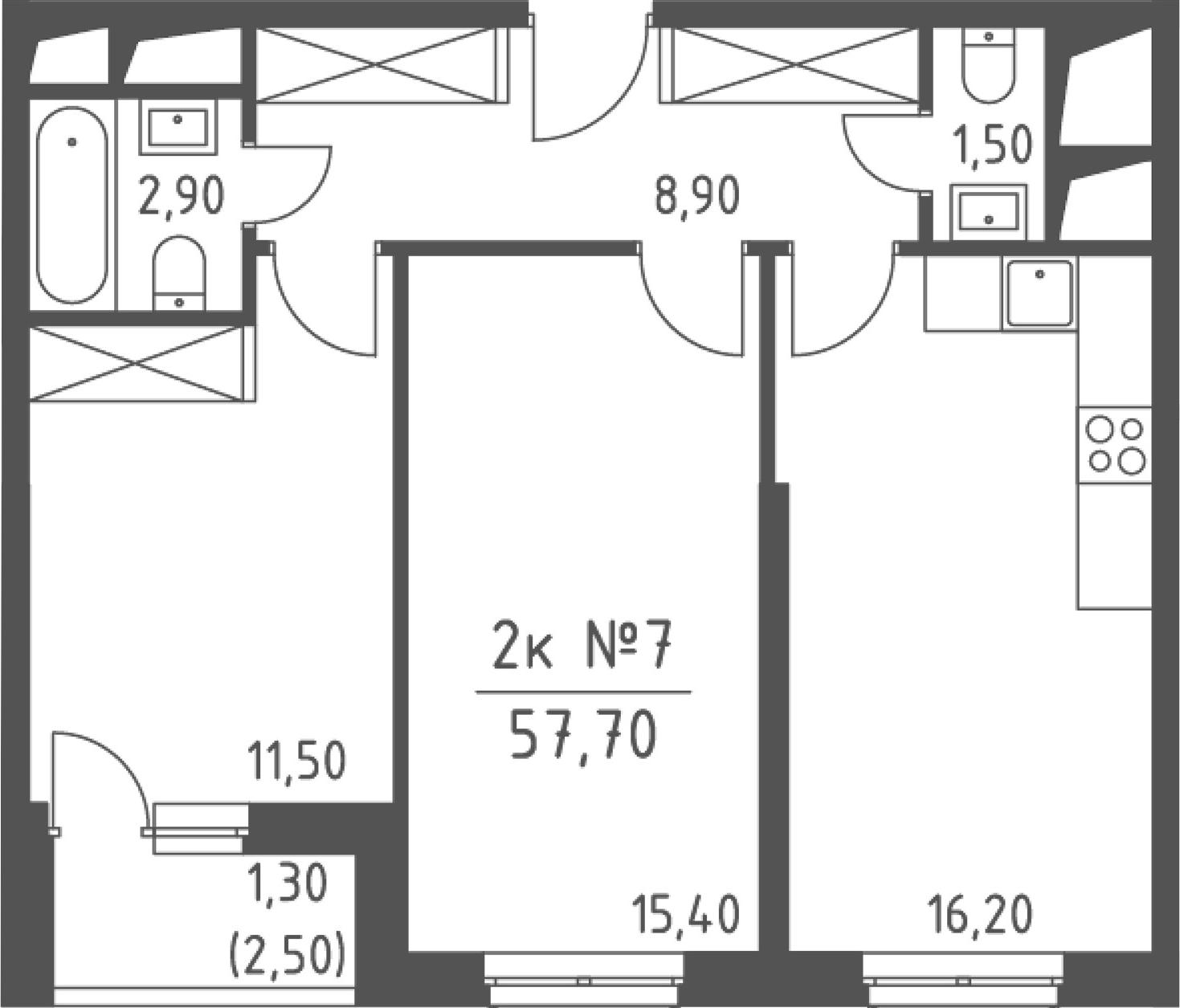 2-комнатная, 57.7 м²– 2