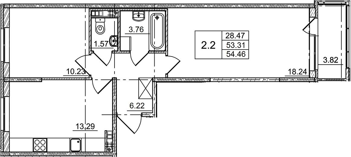 2-комнатная, 54.46 м²– 2