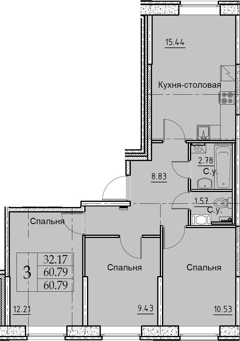 4Е-комнатная, 60.79 м²– 2