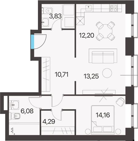 2Е-к.кв, 64.52 м²