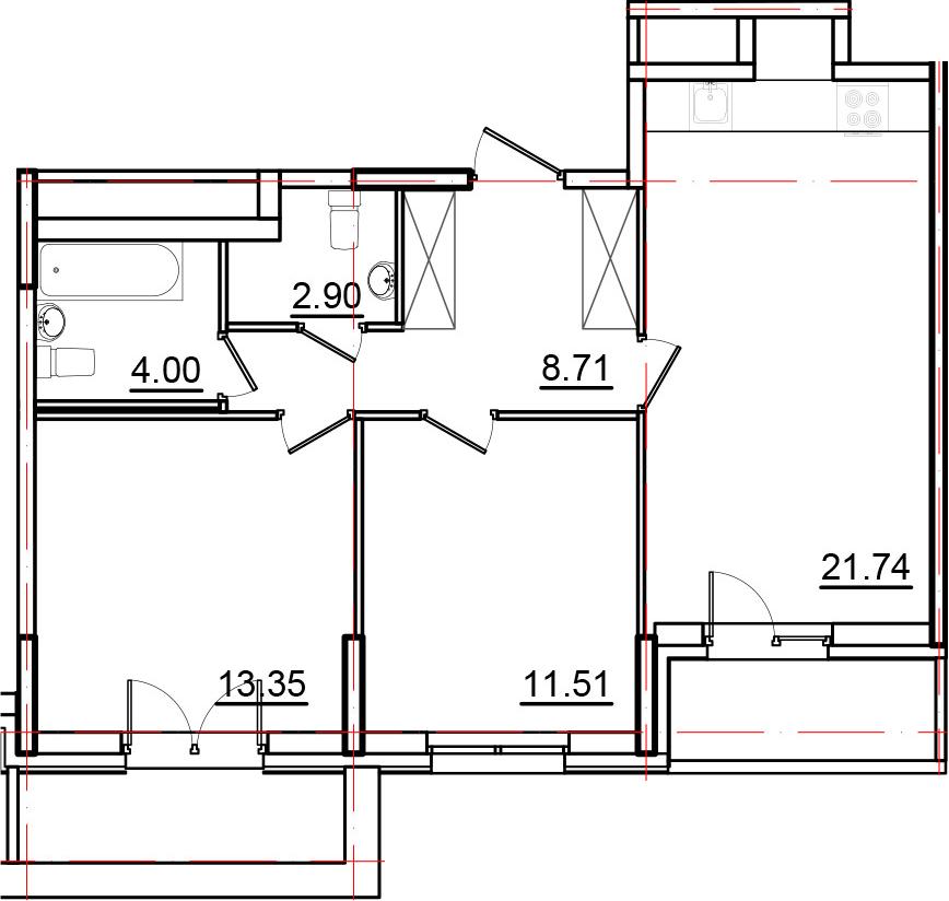 3Е-к.кв, 65.16 м², 2 этаж