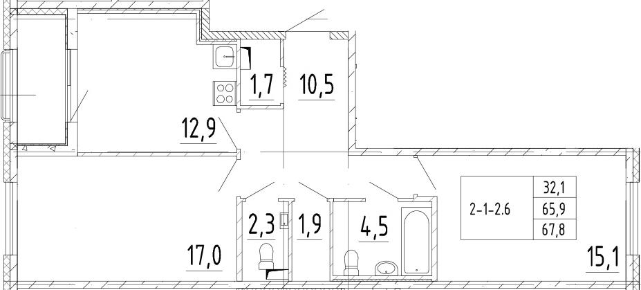 2-комнатная, 67.8 м²– 2