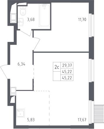 2Е-к.кв, 45.22 м²