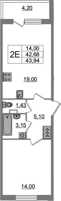 2-к.кв (евро), 46.88 м²