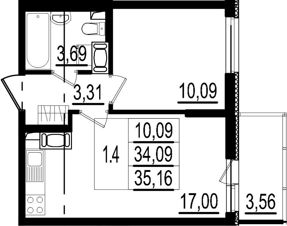 2Е-к.кв, 34.09 м², 3 этаж