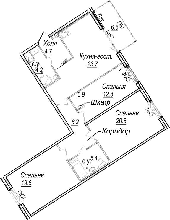 4-к.кв (евро), 106.97 м²