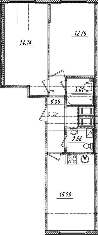 3Е-комнатная, 54.81 м²– 2