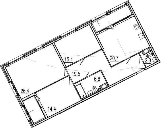 4Е-к.кв, 110.1 м², от 6 этажа