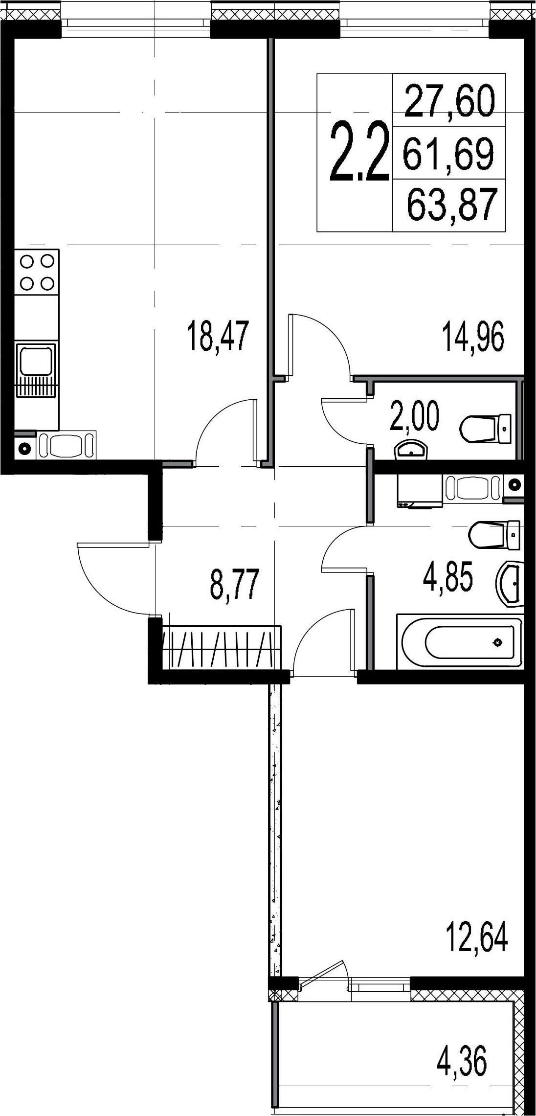 2-к.кв, 61.69 м²