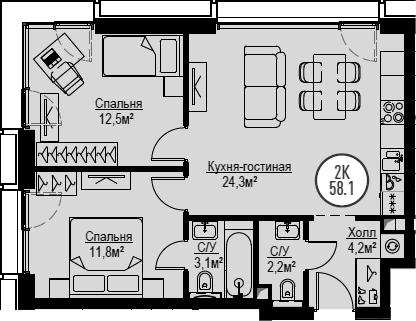 3Е-комнатная, 58.1 м²– 2