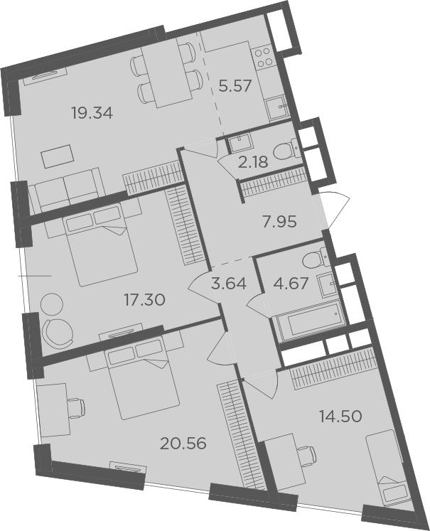 4Е-к.кв, 95.71 м², 30 этаж