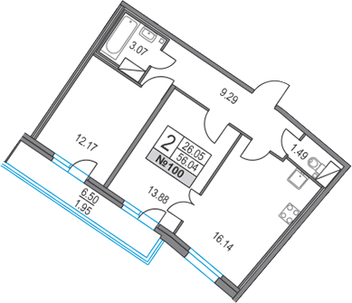 3Е-к.кв, 56.04 м²