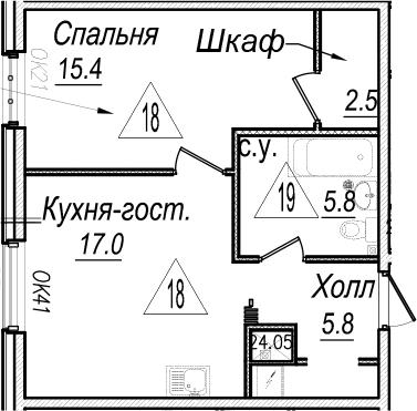 2Е-к.кв, 46.5 м²