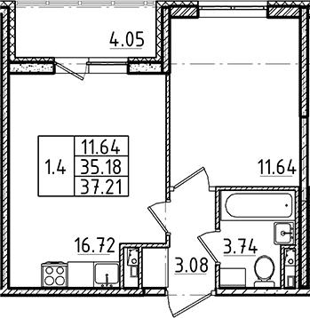 2Е-комнатная, 35.18 м²– 2