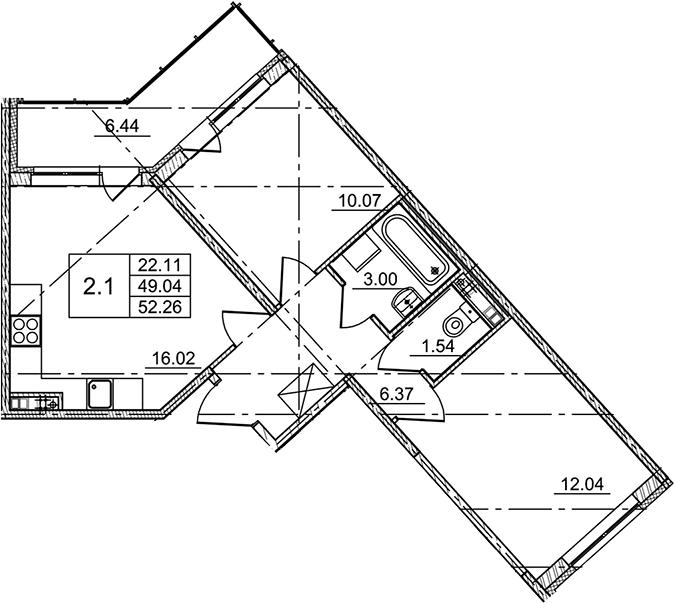 3Е-комнатная, 52.26 м²– 2