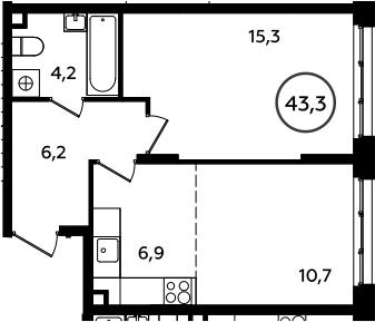 2Е-к.кв, 43.3 м²